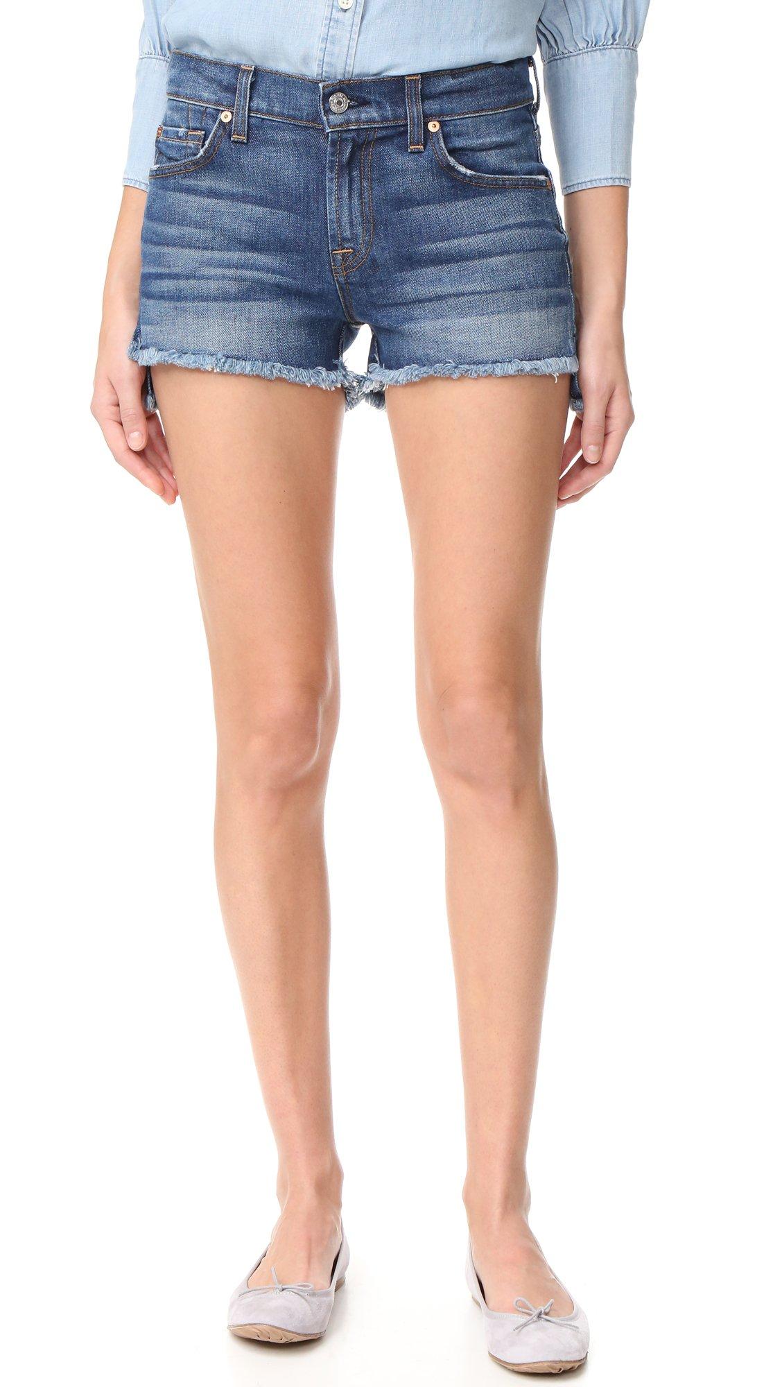 7 For All Mankind Women's Cutoff Step Hem Shorts, Bondi Beach, 28