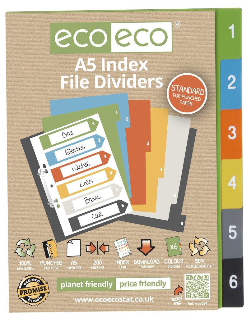 1 Set x 6 pezzi ECO-ECO A5 50% riciclato INDEX FASCICOLO CARTELLA PLASTICA DIVISORI eco-eco Stationery
