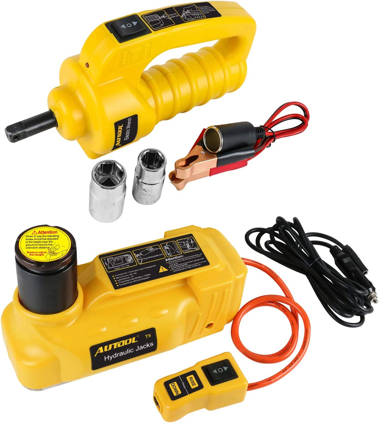 AUTOOL 12V DC 6T universal electric jack set Electric Hydraulic Floor Jack-Tire Lift Kit with Electric Impact Wrench for Car,Sedan,Van,SUV,Trucks