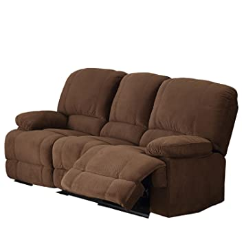 AC Pacific Kevin Collection Contemporary Upholstered Reclining Sofa With  Dual Recliners, Brown
