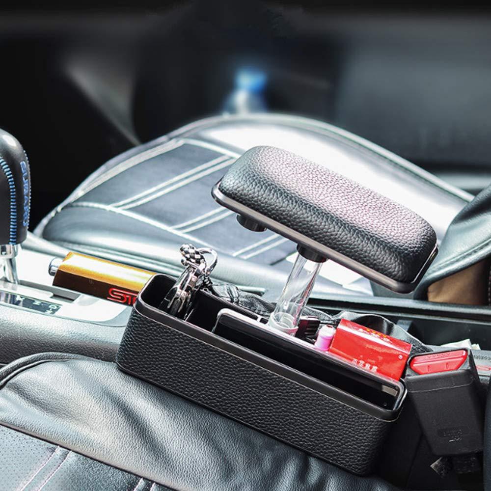 Singeru reposacabezas del reposabrazos universal para coche con caja de almacenamiento Veh/ículo del lado del asiento reposabrazos ajustable licencia moneda caja de almacenamiento de llaves