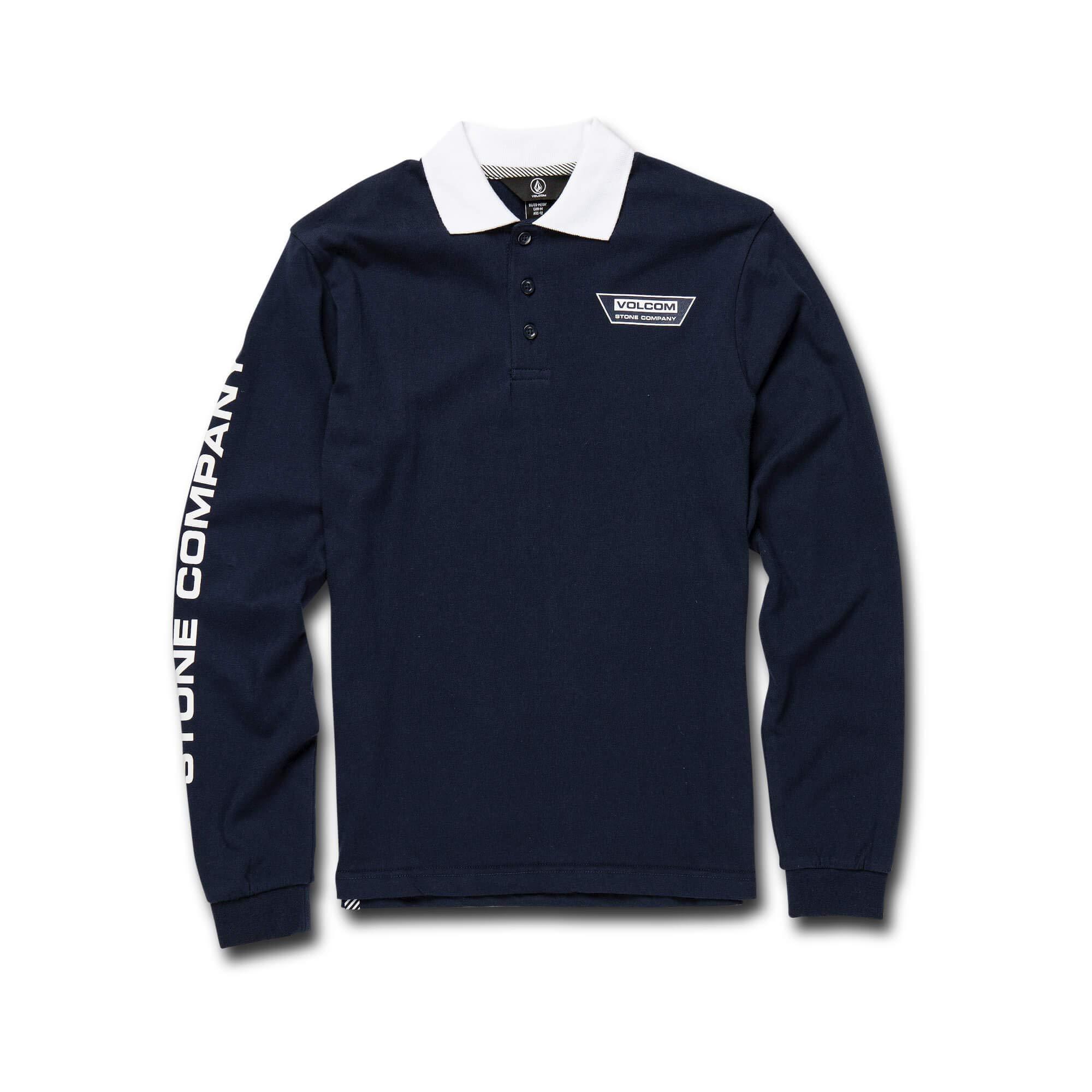 Volcom Big Boy's Belmont Long Sleeve Polo Shirt, Navy Large