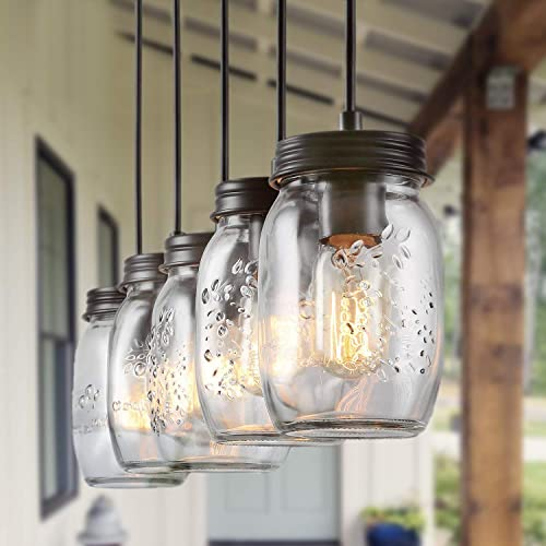 BENNY LIGHTING Farmhouse Mason Jar Chandeliers Pedant Lighting,5-Lights Rustic Glass Hanging Light Fixtures for Framhouse Dining Room Kitchen Island