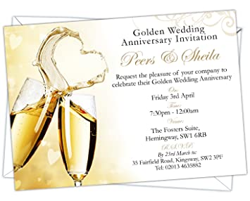 personalised golden wedding 50th anniversary invitations design