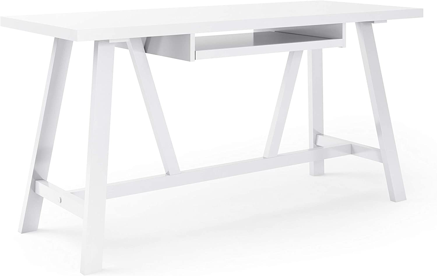 SIMPLIHOME Dylan SOLID WOOD Modern Industrial 60 inch Wide Home Office Desk, Writing Table, Workstation, Study Table Furniture in White