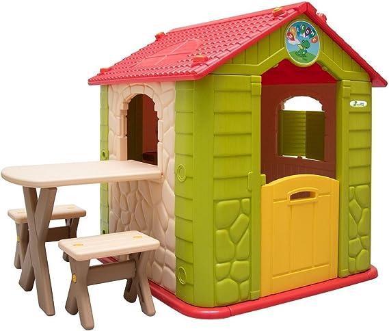 LittleTom Casa de Juegos para niños y niñas Incl 1 Mesa 2 taburetes Casita de plástico para Interiores y Exteriores Verde Beige: Amazon.es: Juguetes y juegos