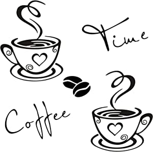 CUNYA 2 Sets Kitchen Wall Decor Stickers, Cups Coffee Time Quotes Decals with Beans Mural, Peel and Stick Wallpaper, DIY Removable Wall Art Decals Mural Posters Home Decor