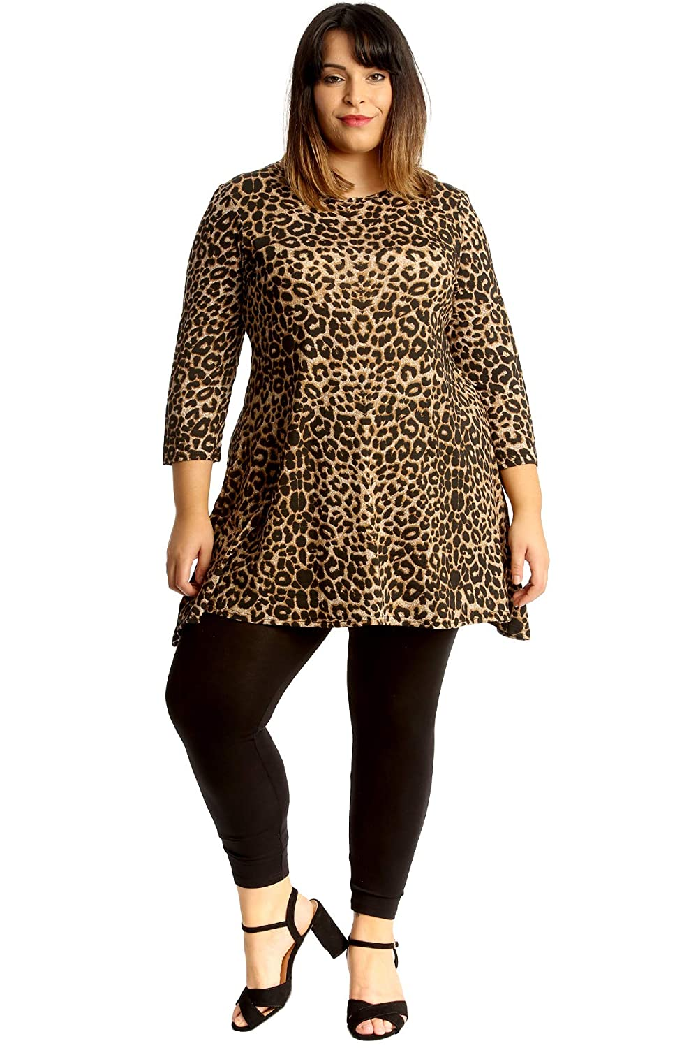 3a4f806e33cc2 Womens Plus Size Top Leopard Animal Print Tunic Swing Skater Style at  Amazon Women s Clothing store