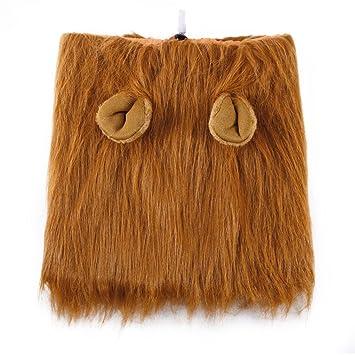 CDKJ: Disfraz de Perro león Pelucas de Pelo Humano Bufanda Ropa para Fiesta Halloween Festival