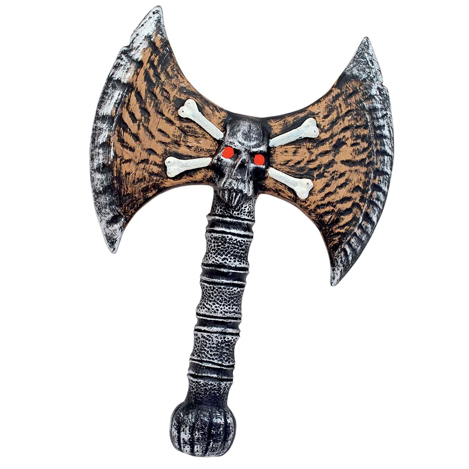 34cm Battle Axe Handheld Skull design Pirate Bones Goblin LARP War Lord Viking Weapon Plastic Cosplay Game Prop Accessory Fancy Dress VIP