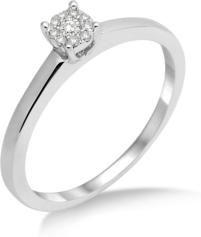 Miore Anillo de Mujer de Oro Blanco de 18k con Diamantes