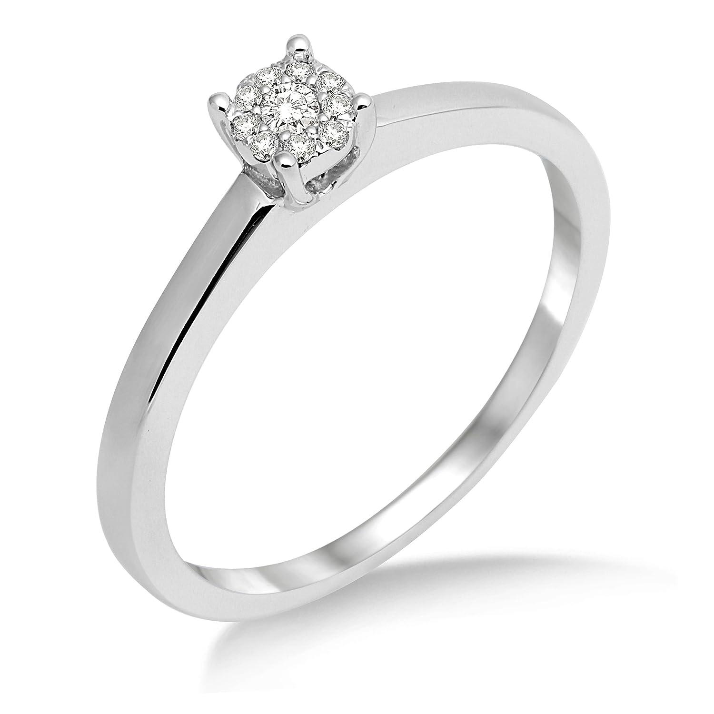 Miore Anillo de Mujer de Oro Blanco de k con Diamantes