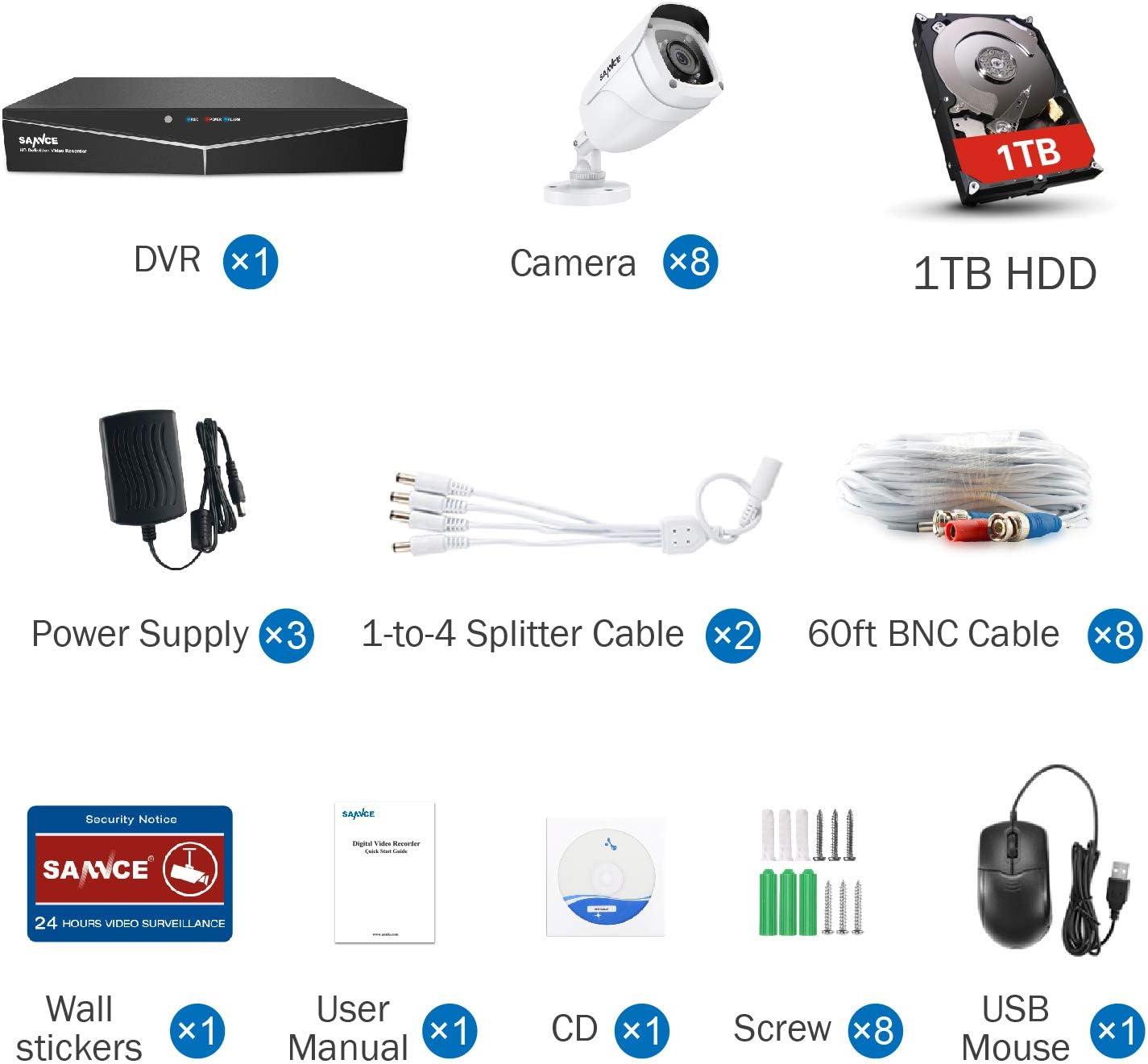 SANNCE Kit de Seguridad Sistema de 8CH 1080N DVR 5-en-1 y 8 C/ámaras de vigilancia 720P HD con visi/ón Nocturna Leds IP66 Interior//Exterior Acceso Remoto-sin HDD