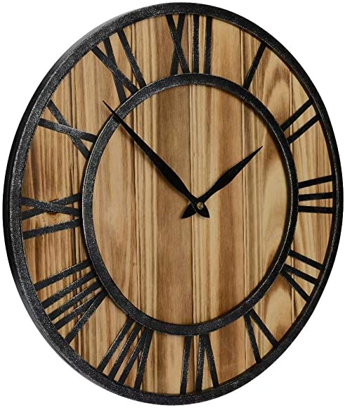 Red Oak 16-Inch Rustic Vintage Metal Wood Silent Non-Ticking Decorative Wall Clock with Large Roman Numerals
