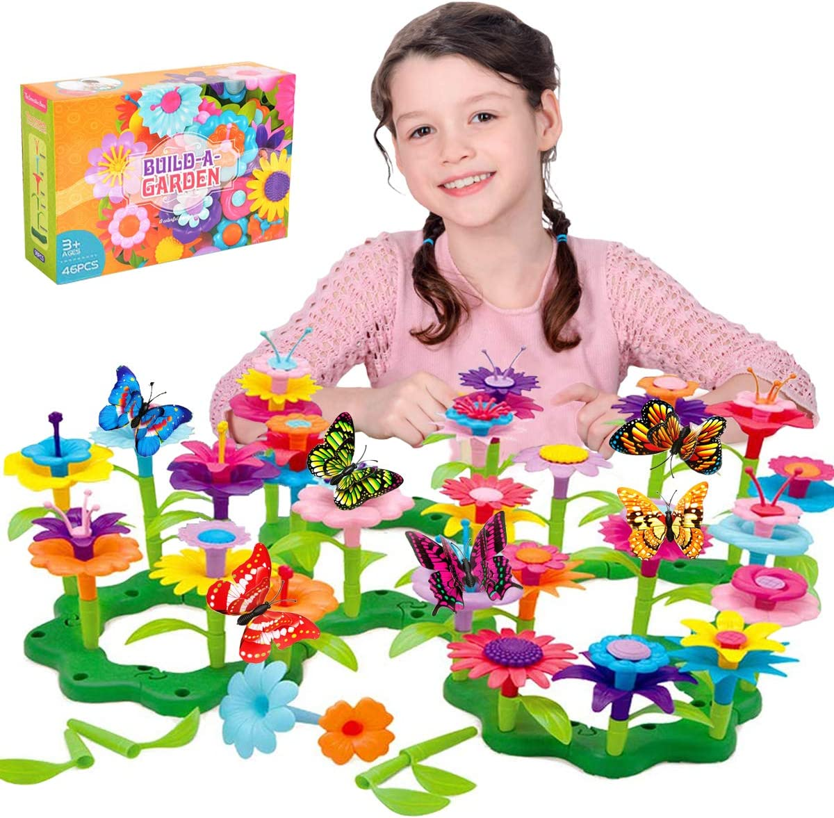Kyerivs Flower Garden Building Toys Set for Girls Creative Educational Garden Building Blocks Toys 46 PCS Gardening Christmas Birthday Gifts with 6PCS Simulation Butterfly for Children Age 3—7 Years