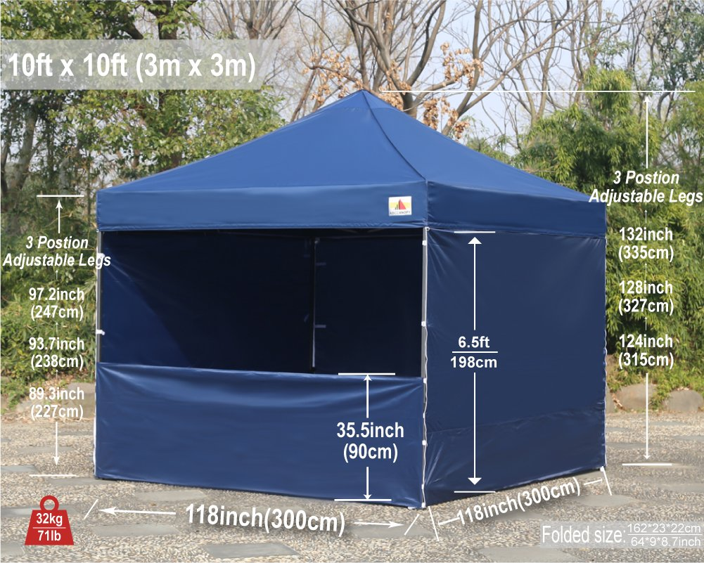 AbcCanopy Commercial 10x10 Instant Canopy Craft Display Tent Portable Booth Market Stall with Wheeled Carry Bag & Full Walls , Bonus 4x Weight Bag & 10ft Screen Wall & 10ft Half Wall (NAVY BLUE) by abccanopy (Image #8)