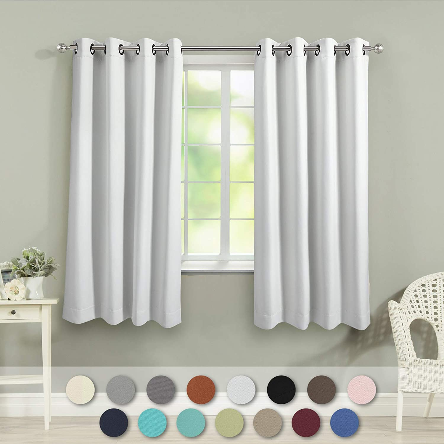 VEEYOO Blackout Curtains Panels for Bedroom - Thermal Insulated Grommet Blackout Curtains/Panels/Drapes for Living Room Christmas & Thanksgiving Decor(2 Panels, 52x63 inches, Greyish White)