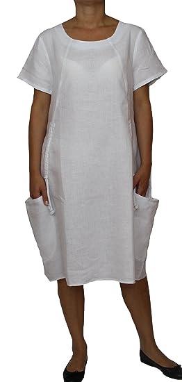 52d767a390c Perano 25062 Damen Leinen Sommerkleid Freizeitkleid  Amazon.de  Bekleidung