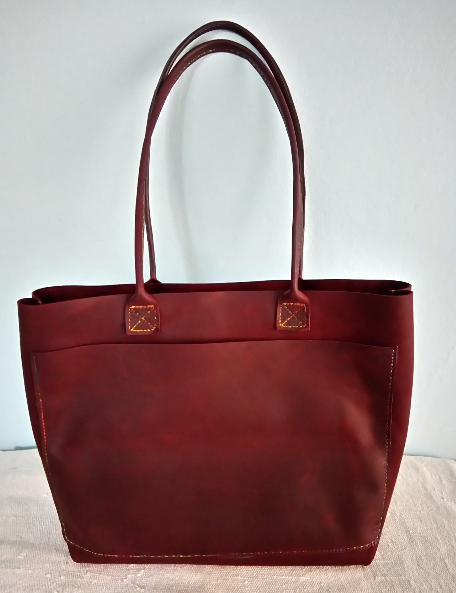 Handmade Leather Tote Bag Leather Tote Handbags for Women Burgundy Large
