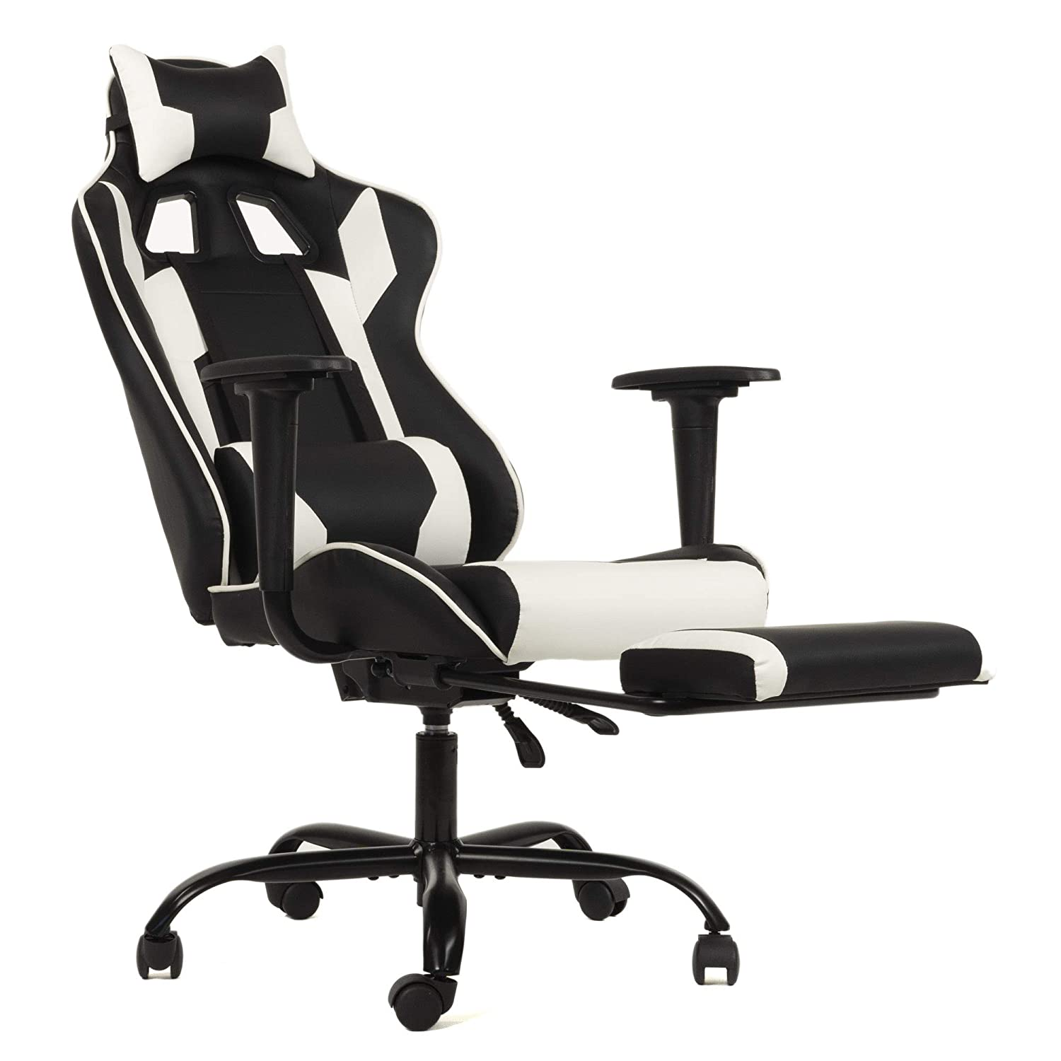Ergonomic Office Chair PC Gaming Chair Desk Chair Executive PU Leather Computer Chair Lumbar Support with Footrest Modern Task Rolling Swivel Chair for Women, Men White