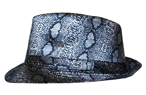 ae4cf72332e Snakeskin Print Trilby Fedora Hat in Black and Grey  Amazon.co.uk  Clothing