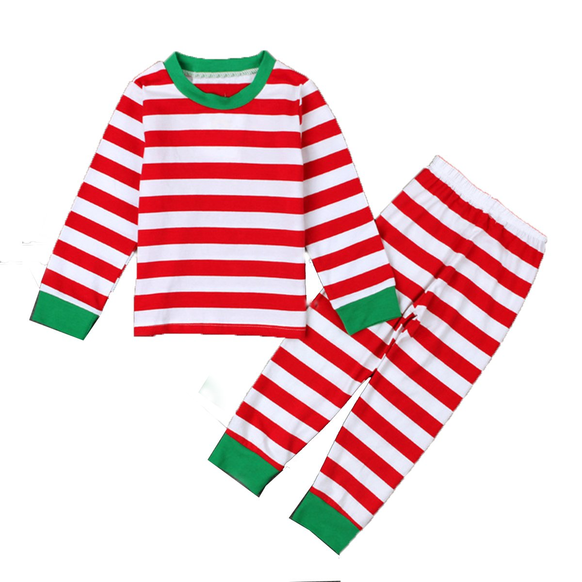 Baby Boys Girls Striped Christmas Nightwear Pajamas Sleepwear T-shirt and Pants Set