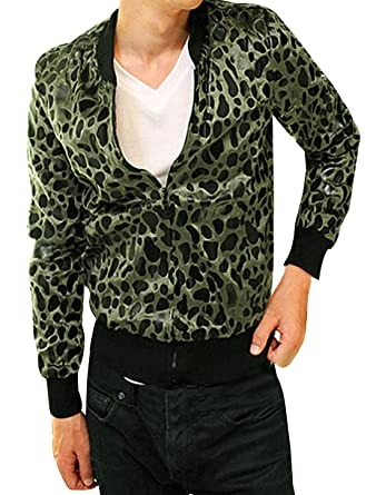 4bec0e96ccf8 Allegra K Men Fashion Slant Pockets Allover Leopard Print Casual Jacket  Medium Olive Green