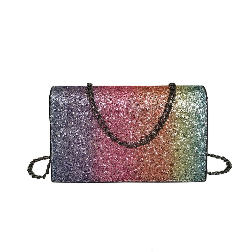 Internet Fashion Bag Women Girl Leather Crossbody Shoulder Bag with Bling Sequins Black)