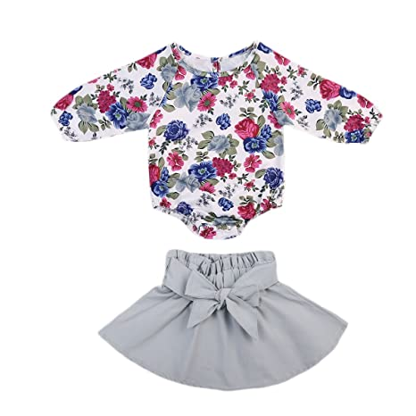 16f5304eeb8 Infant Baby Girl Long Sleeve Floral Romper Bowknot Dress Skirt Casual Toddler  Baby Girl Clothes Set Outfit 0-24M (3-6 Months  Amazon.in  Baby