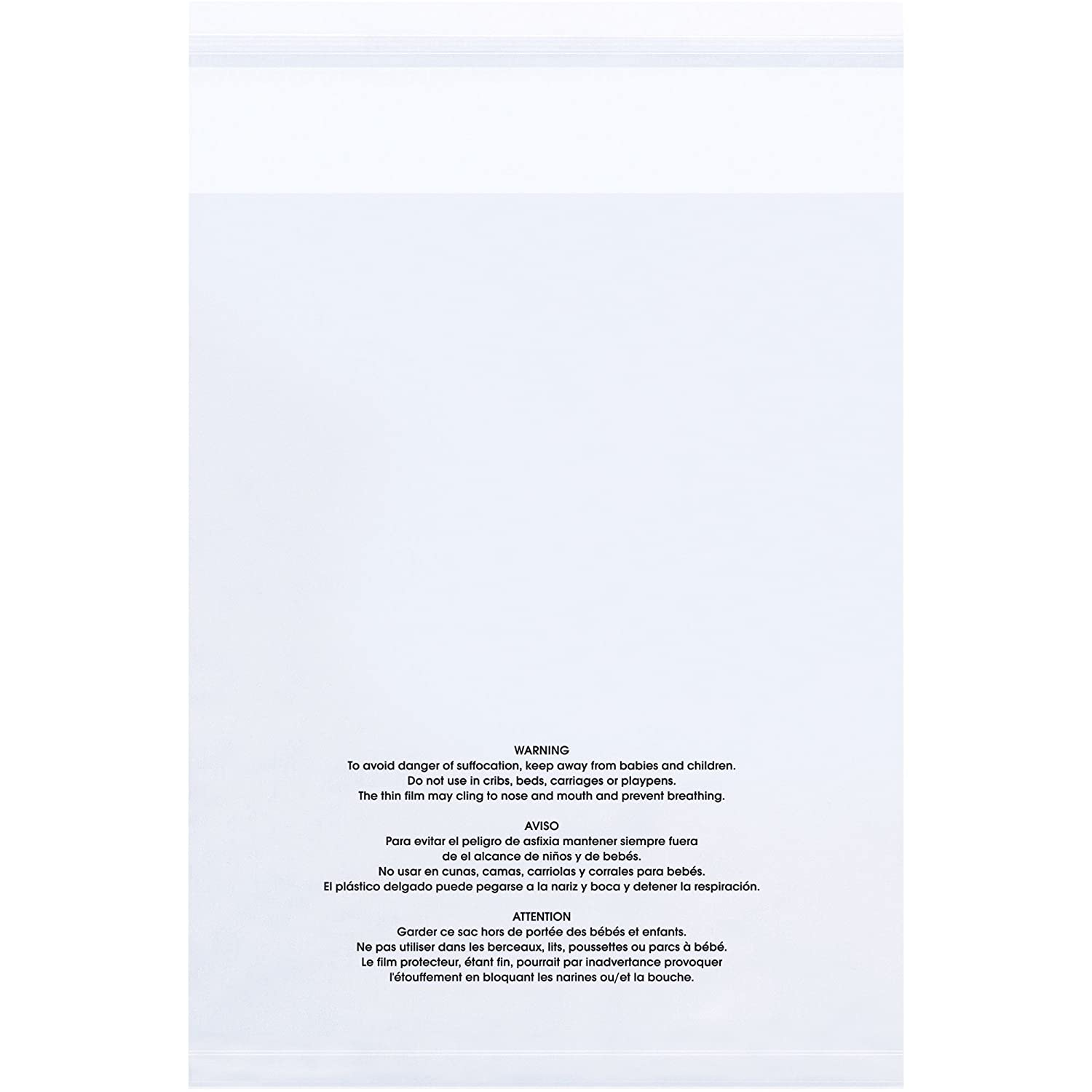"""Clear Resealable Poly Bags 18/"""" x 24/"""" with Suffocation Warning 1.5 Mil 500 pcs"""