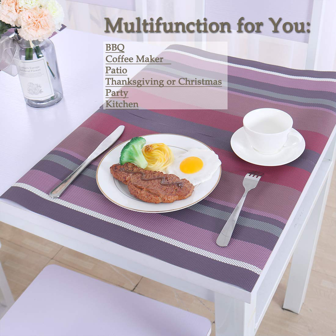 Heat-Resistant Table Mats PVC Stain Resistant Non-Slip Washable Placemats for Dining Table Set of 4 uxcell Placemats B Gold