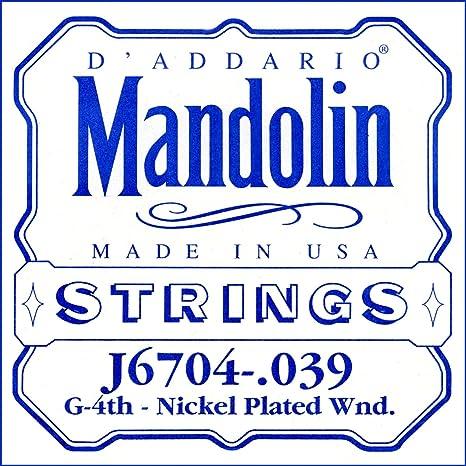 DAddario J6704 Corde seule en nickel pour mandoline Calibre .039