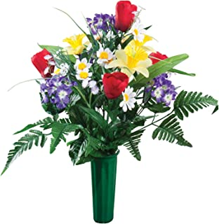 Tulip flowers bouquet cemetery grave in memorial flower vase large miles kimball memorial silk flowers mightylinksfo