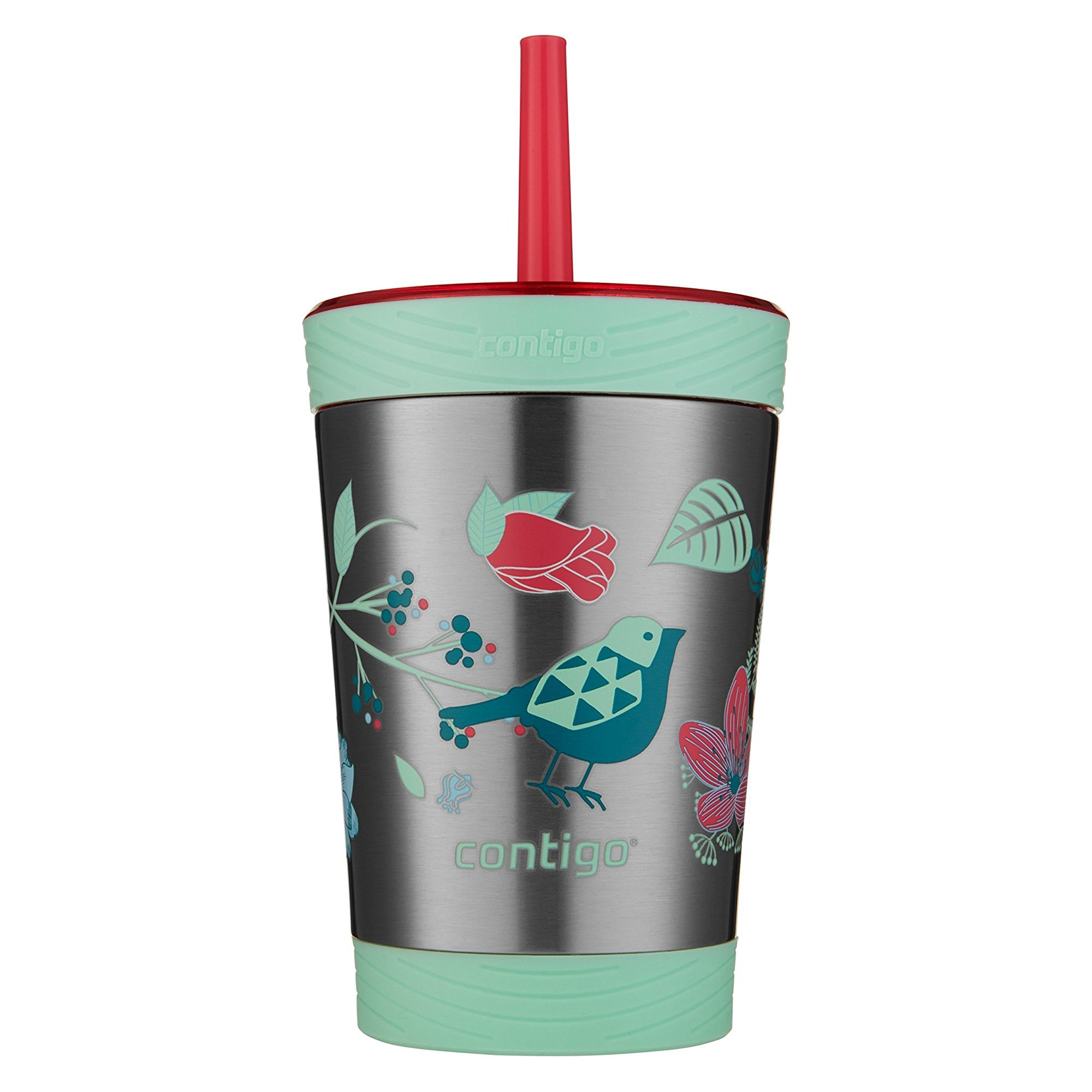 Contigo Stainless Steel Spill-Proof Kids Tumbler with Straw, 12 oz, Sprinkles with Birds & Flowers by Contigo
