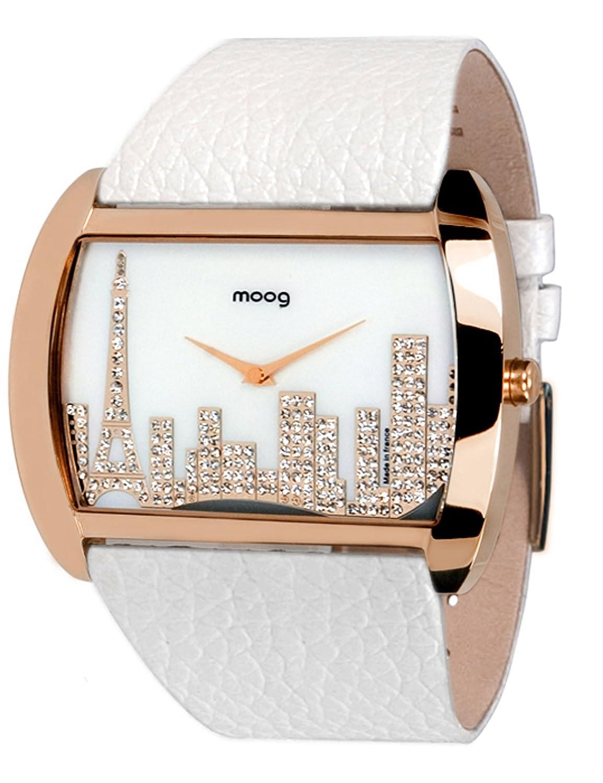 Moog Paris - Skyline - Damen Armbanduhr Rosegold aus Edelstahl - Armband weiß aus Kalbsleder - Paris Armbanduhr -
