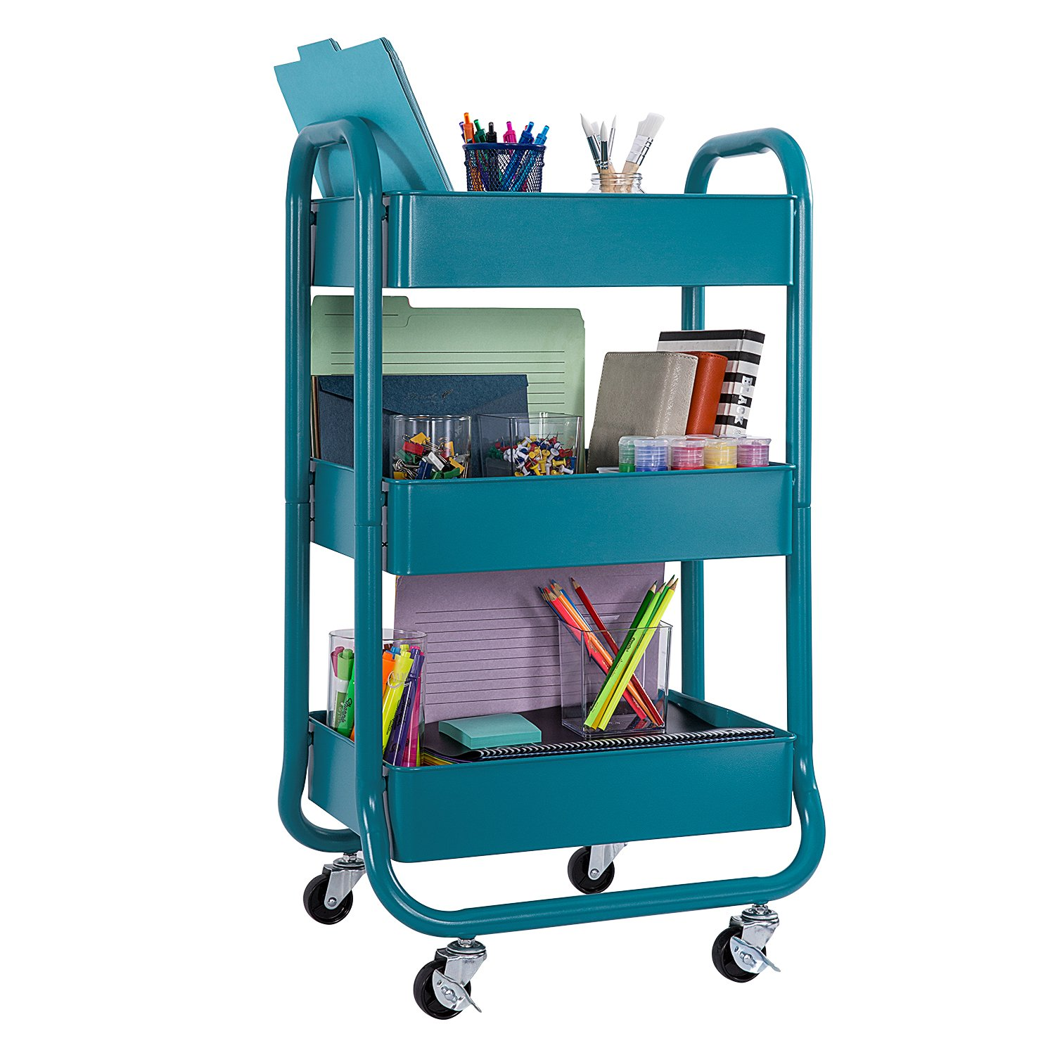DESIGNA Metal Rolling Storage Cart 3 Tiers Utility Mobile Organization Cart with Handles Suitable for Office Home Kitchen or Outdoor, Turquoise