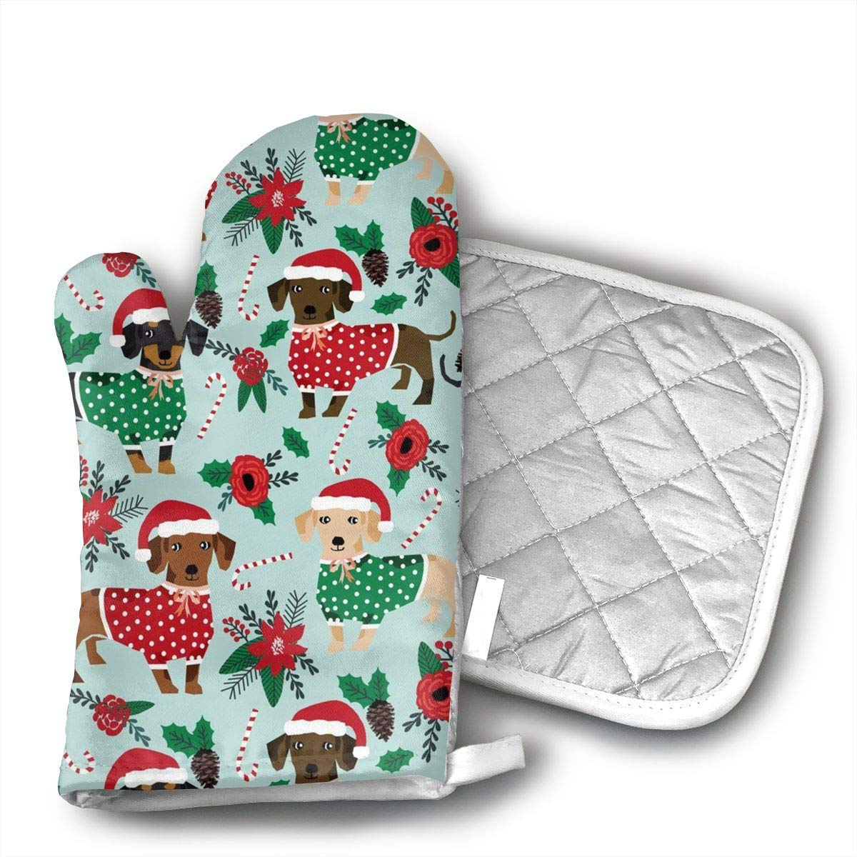 FGXQB Christmas Sweaters Cute Dachshunds Oven Mitts, with The Heat Resistance of Silicone and Flexibility of Cotton, Recycled Cotton Infill, Terrycloth Lining,