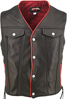 "product image for Men's Black Leather Motorcycle Vest with Red Trim & Gun Pockets (Chest:46"" Length: Regular)"