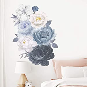 ROFARSO Nature Plants Flowers Watercolor Black White Peony Vinyl Wall Stickers Removable PVC Peel and Stick Wall Decals Art Picture Decorations Decor for Teens Girls Bedroom Living Room Murals