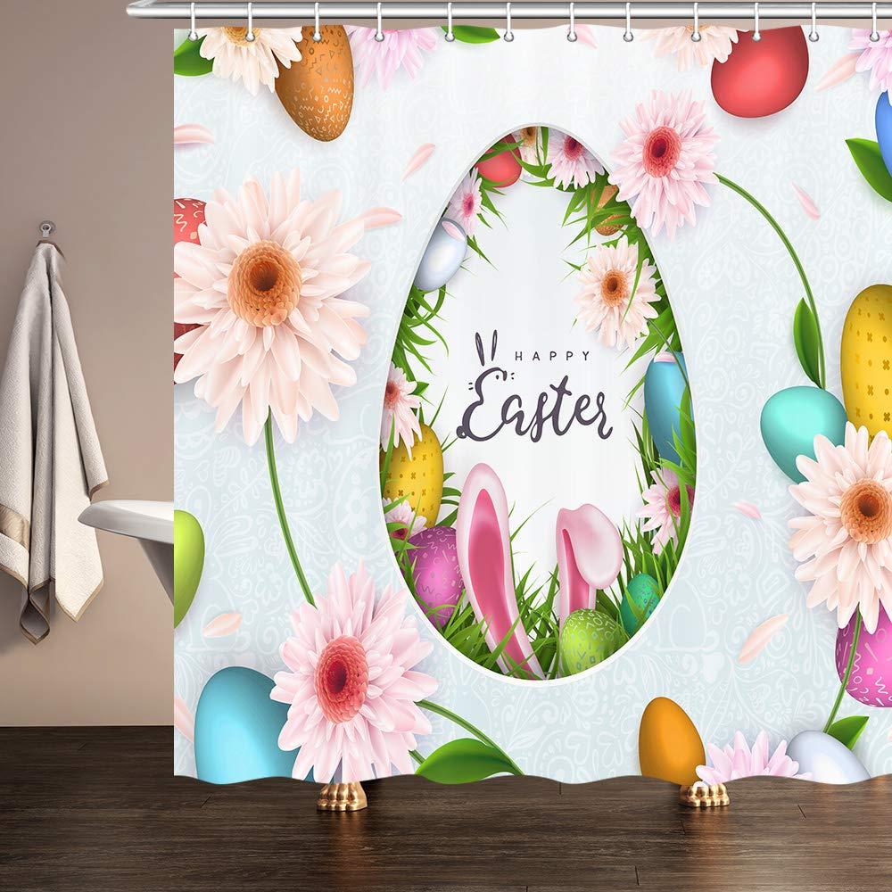 Ombre Garden Fabric Artistic Gerbera Flowers Shower Curtain Extra Long 84 Inch