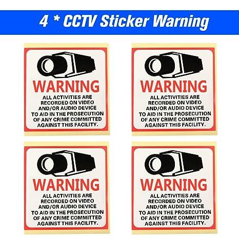 OWSOO 4pcs Cartel Alarma Impermeable 80 * 80MM Señales de ...