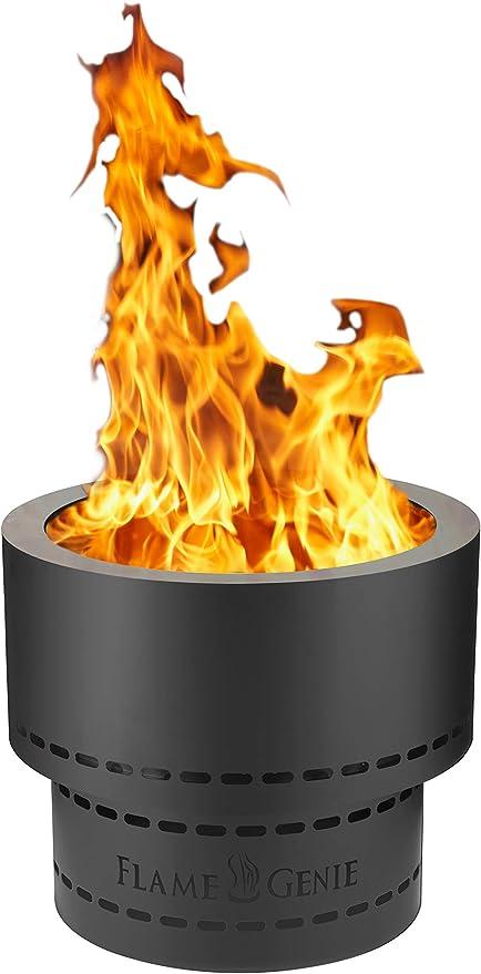 Amazon Com Hy C Fg 19 Flame Genie Portable Smoke Free Inferno Wood Pellet Fire Pit Usa Made 19 Diameter Black Garden Outdoor