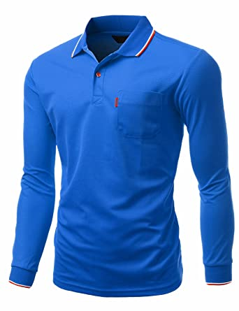 f40bac26 Amazon.com: Xpril Men's Basic Collar Polo Long Sleeve Pocket point T ...