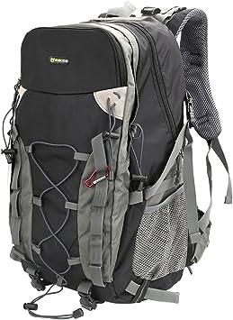 Evecase Mochila de Senderismo 40L, Mochila de Viaje, Macuto Montaña y Multifuncional, Compacto con Aire Libre, Deporte, Escalada y más, Color Negro