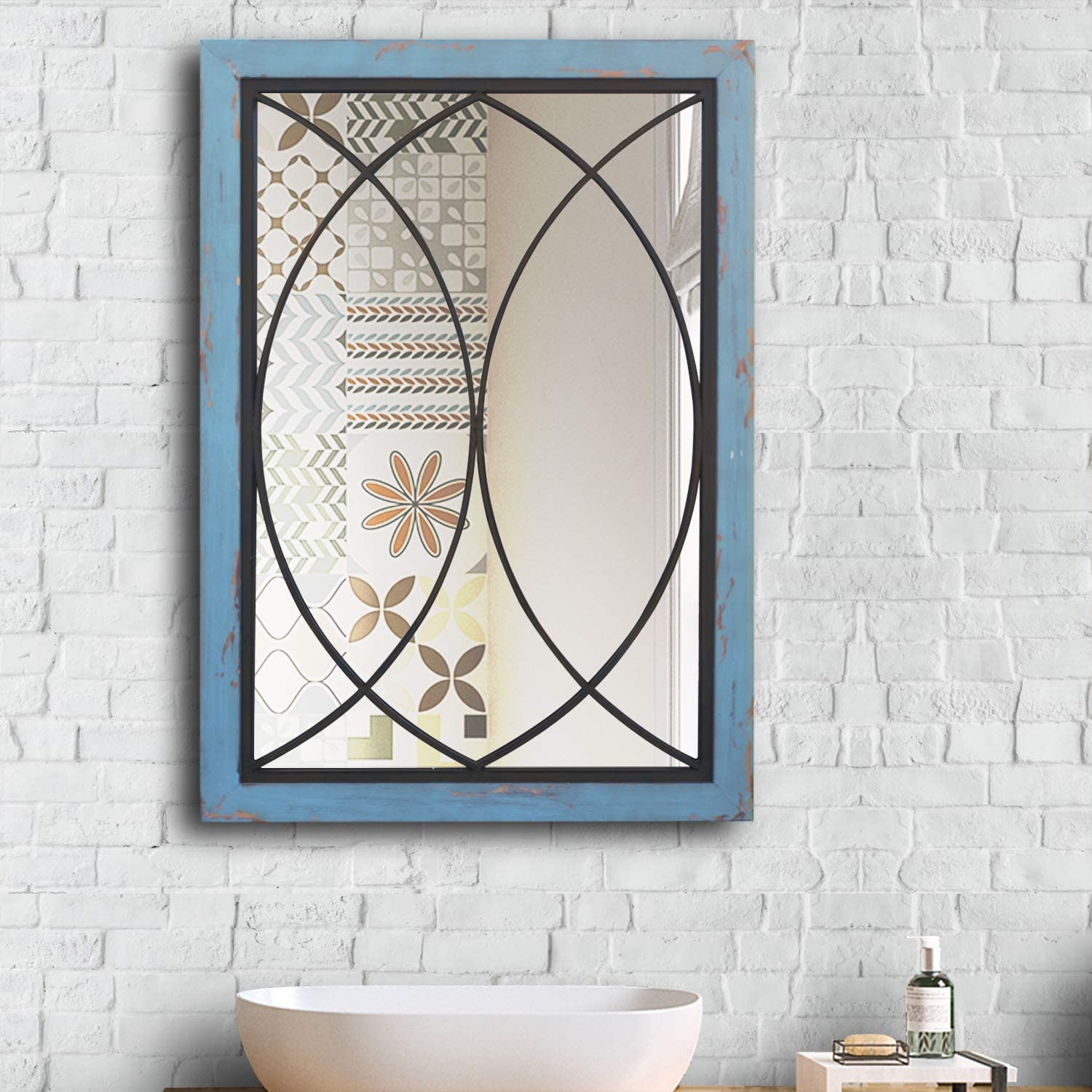 """Wall Mirror Mounted Decorative Rectangle Long Hanging Decor Mirror for Bathroom Vanity, Living Room or Bedroom Blue 38.5"""" x1"""" x26.7"""""""