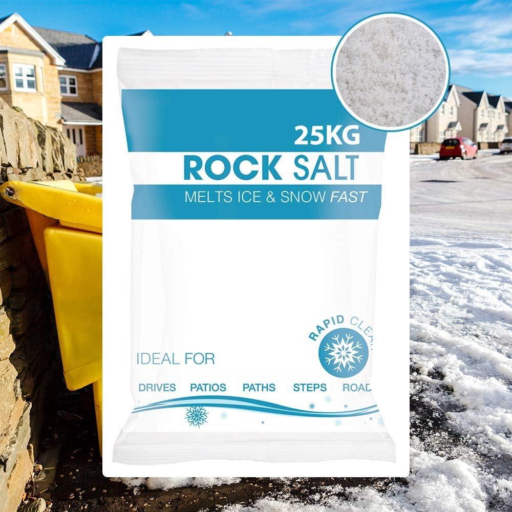 Sal de roca blanca para descongelar hielo//nieve blanco