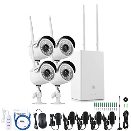 [1280*960P] ANNKE Kit de seguridad Wifi inalámbrico 4 Cámaras IP de vigilancia