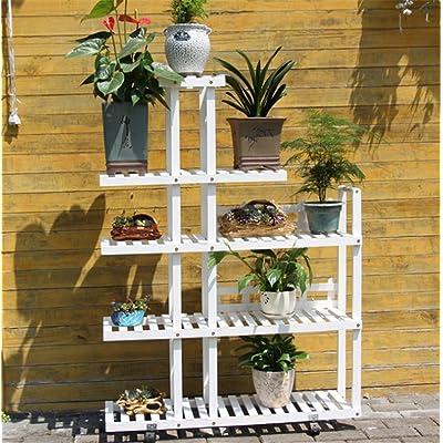 Étagère de fleur de bois solide anticorrosion étagère intérieure multi-étages balcon solide bois fleur verte pot / 98 * 25 * 130cm