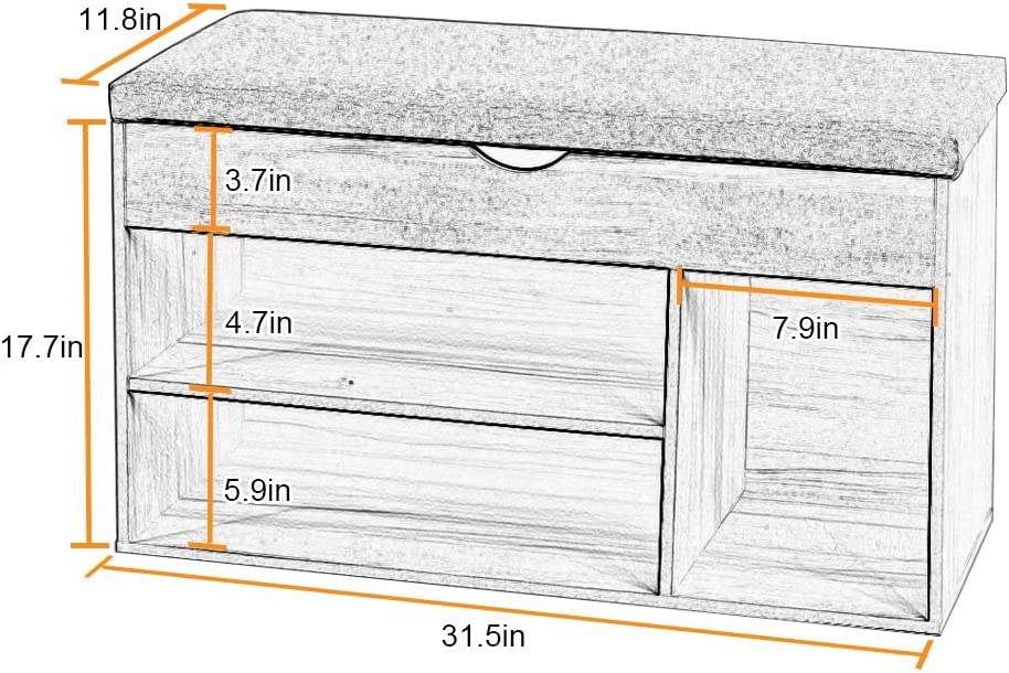 Entryway Gray D-CA-M018A-G2 DlandHome 31.5inch Shoe Rack Shoe Storage Bench with Flip Top for Hallway