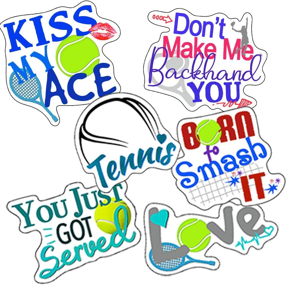 Tennis Stickers (6 Pack) - Fun Tennis Gift Ideas and Party Supplies - Look Great on Water Bottles, laptops, Cars - 100% Vinyl and Waterproof